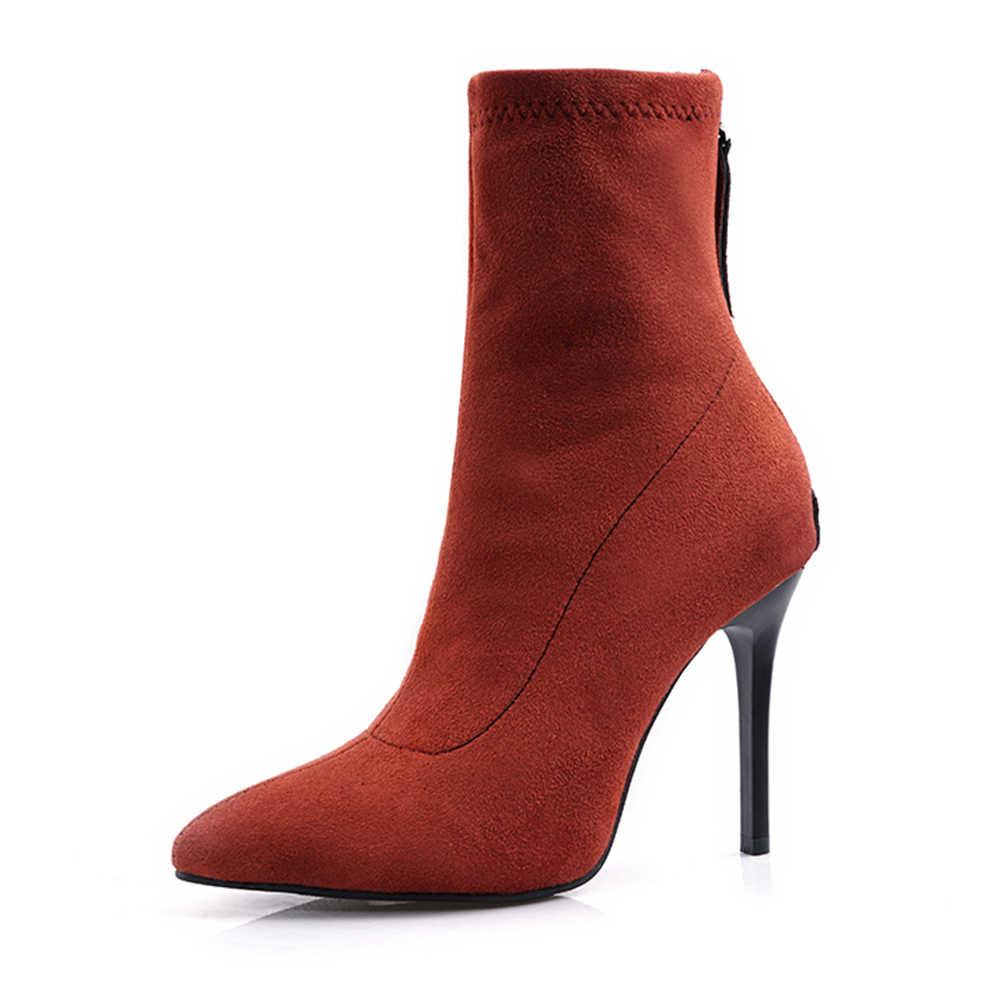 Kadın 2019 Büyük Boy 34-48 Parti Çorap Kadın Ayakkabı Seksi Ince Yüksek Topuklu Seksi Kış Ayakkabı kadın yarım çizmeler