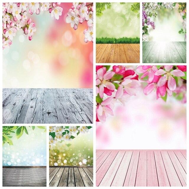خلفيات خلفية للربيع من Laeacco أزهار أزهار على شكل عشب خوخه أرضية خشبية للأطفال حديثي الولادة خلفيات تصوير فوتوزون