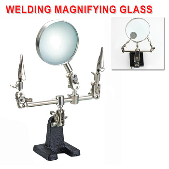 3 in 1 Welding Magnifying Glass Auxiliary Clip Magnifier Soldering Solder Iron Stand Holder Station Repair Tool With 5X Lense magnifier phone repair platform station universal clamp form magnifying glass desktop holder soldering repair tool
