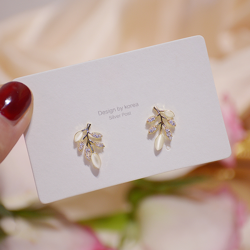 Exquisite Simple Leave Zirconia Opal Earrings for Women 14k Gold Zircon Popular Stud Earring Birthday Gfit Christmas Jewelry