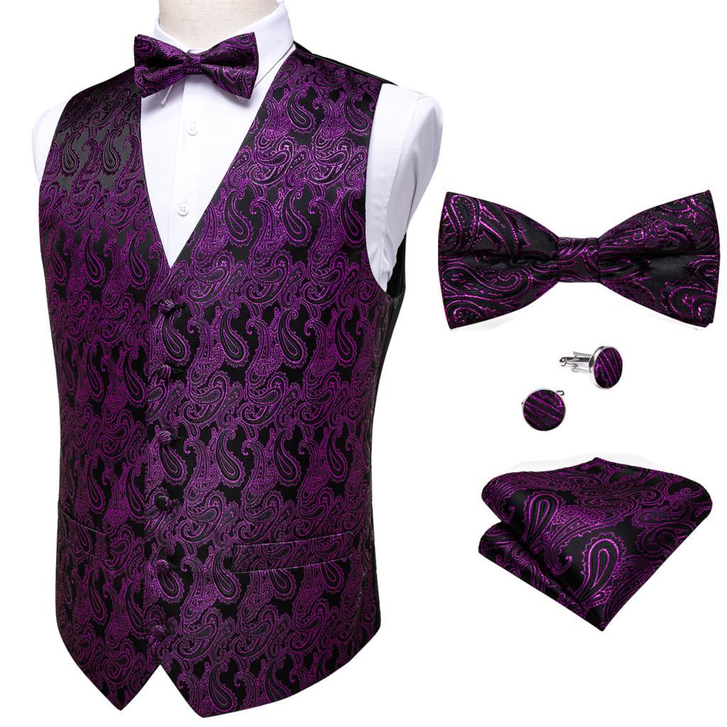 Barry.Wang Silk Vest Men's Classic Purple Waistcoat Party Wedding Paisley Jacquard Vest Hanky Bow Tie Cufflinks Set DiBanGu