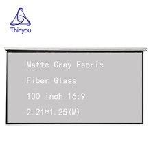 Thinyou 100 дюймов 16:9 ручной проектор экран матовый серый ткань стекловолокно 3D HD настенный установленный занавес для домашнего кинотеатра