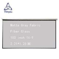 Thinyou 100 cal 16:9 ręcznie ekran projektora matowy szara tkanina włókno szklane 3D HD ścienny kurtyny dla kina domowego|Ekrany projekcyjne|Elektronika użytkowa -