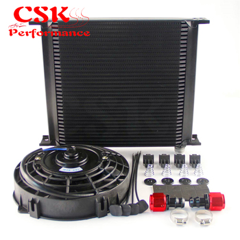 """10-AN Universal 34 Row ENGINE Oil Cooler with fittings + 7"""" Electric Fan Kit Black"""