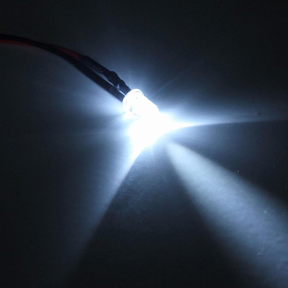 Купить с кэшбэком 10pcs 12V High-Quality LED Light Bulb 10 x Pre Wired 5mm Bright Diode Lamp 20cm / 7.874 inch Prewired with 25 Degrees