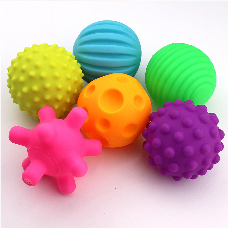 Baby Soft Rubber Hand Massage Training Balls Sounding Textured Tactile Sensory Stress Balls Toys For Kids Children