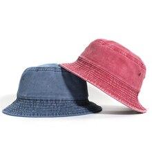 Harajuku Solid Bucket Hats Foldable Washed Denim F