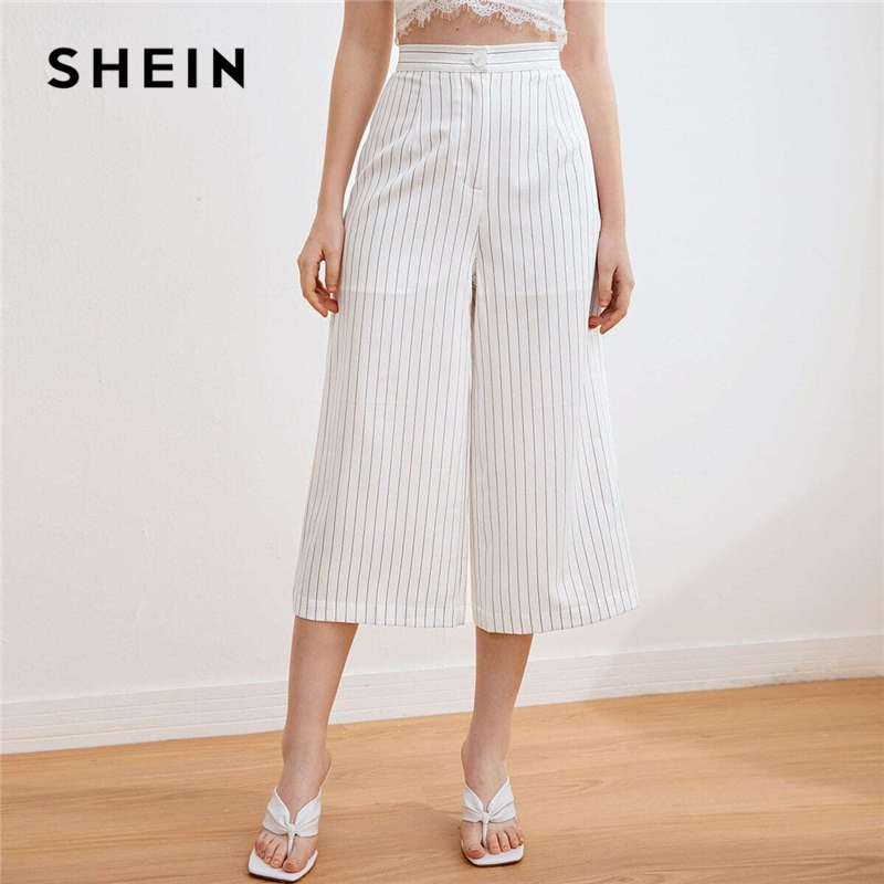 SHEIN White Zipper Fly Striped Palazzo Capri Pants Women Summer Office Ladies Casual Trousers Wide Leg Cropped Pants