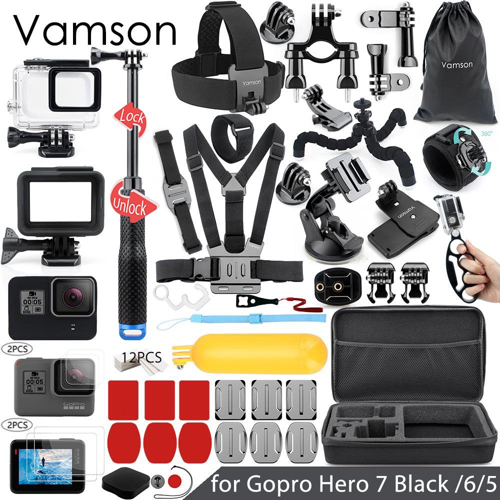 Vamson for Gopro 7 6 5 Accessories Set Waterproof Housing Protection case Monopod for Gopro hero
