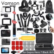 Vamson dla Gopro 7 6 5 zestaw akcesoriów wodoodporna obudowa pokrowiec ochronny monopod do Gopro hero 6 5 kamera sportowa Vamson VS10
