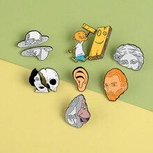 2 шт./компл. художественный шпильки Ван Гог уши Алиса: безумие возвращается половина Броши с черепом значки сумка эмалью, булавки, подарки для пары друзей ювелирное изделие, опт