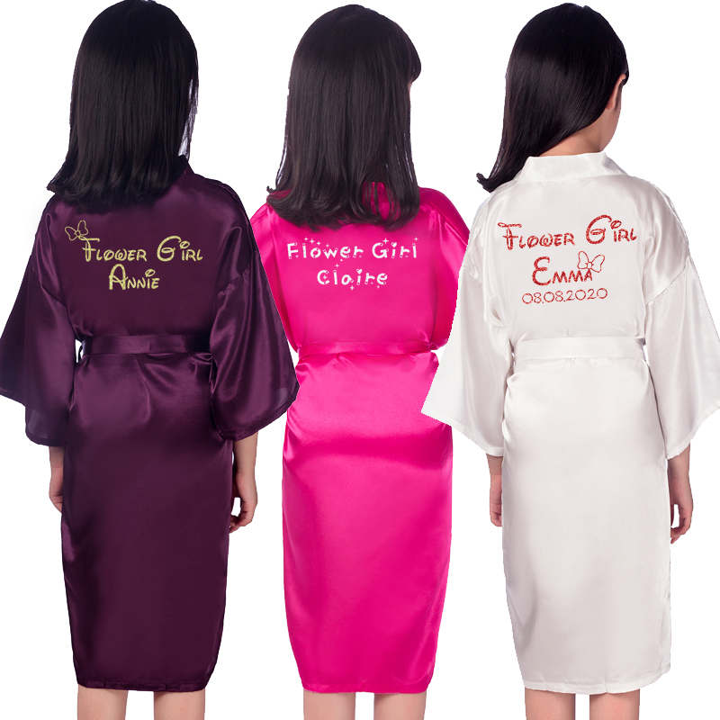 Customize Name Date Flower Girl Kimono Robes Wedding Bathrobes Pajamas Kids Robe+belt Nightdress Brial Party Kid Robe