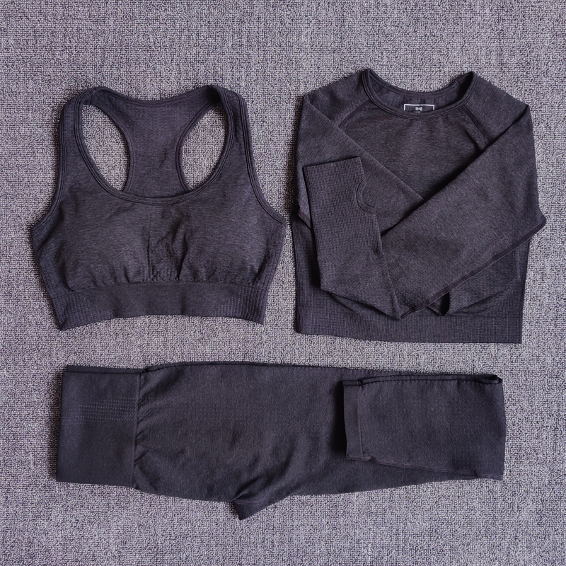 Shirts Leggings Workout-Pants Crop-Top Gym-Clothing Yoga-Set Sports-Suits Fitness Long-Sleeve