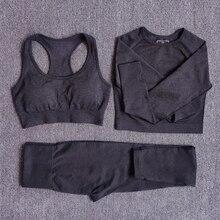Женский бесшовный комплект для йоги, спортивные костюмы для фитнеса, одежда для спортзала, укороченный топ с длинным рукавом, рубашки с высокой талией, леггинсы для бега, штаны для тренировок