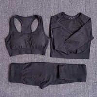Conjunto de Yoga sin costuras para mujer, trajes deportivos para Fitness, ropa de gimnasio, camisetas de manga larga, de cintura alta, leggings para hacer ejercicio