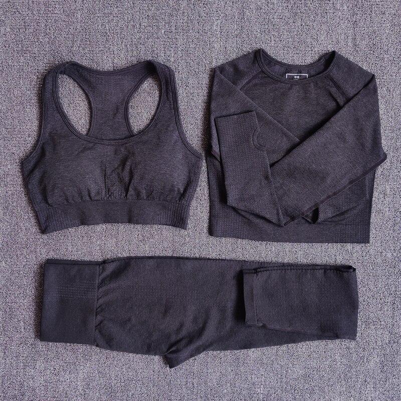Frauen Nahtlose Yoga Set Fitness Sport Anzüge Gym Kleidung Langarm Crop Top Shirts Hohe Taille Rennen Leggings Workout Hosen
