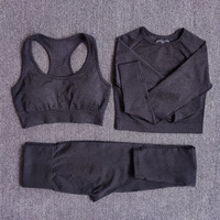 3pcsSetBlack - Women Seamless Yoga Set Fitness Sports Suits