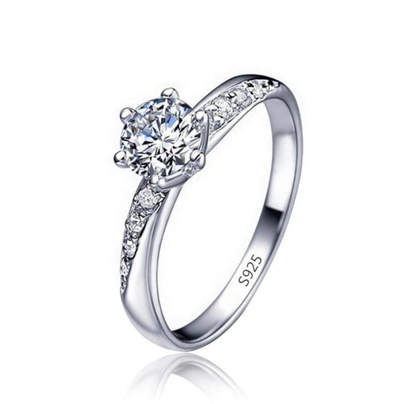 Round Zircon Exquisite Engagement & Wedding Rings for women silver color female Crystal Jewelry top quality ring