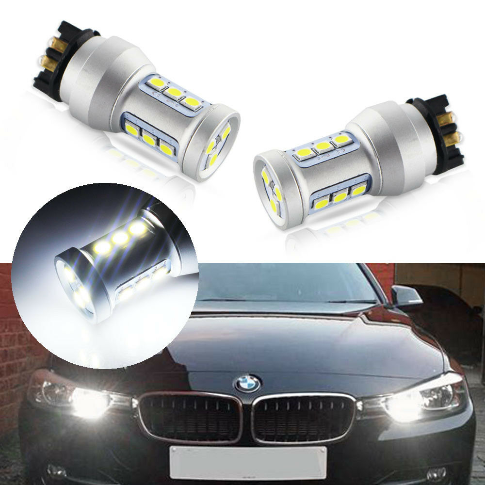 2Pcs Amber White <font><b>PW24W</b></font> LED Canbus Error Free PWY24W LED Bulbs For Audi A3 A4 A5 Q3 V W MK7 Golf CC Ford Front Turn Signal Lights image