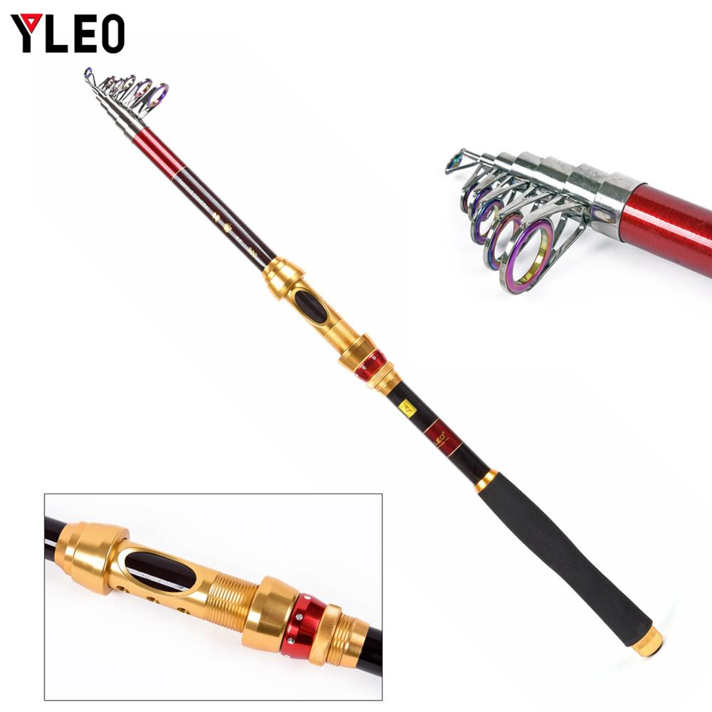 YLEO 1 8M 2 1M 2 4M 2 7M 3 0M 3 6M 4 5M Portable Telescopic Fishing Rod Glass Fiber Fishing Pole Travel Sea Fishing Spinning Rod in Fishing Rods from Sports Entertainment