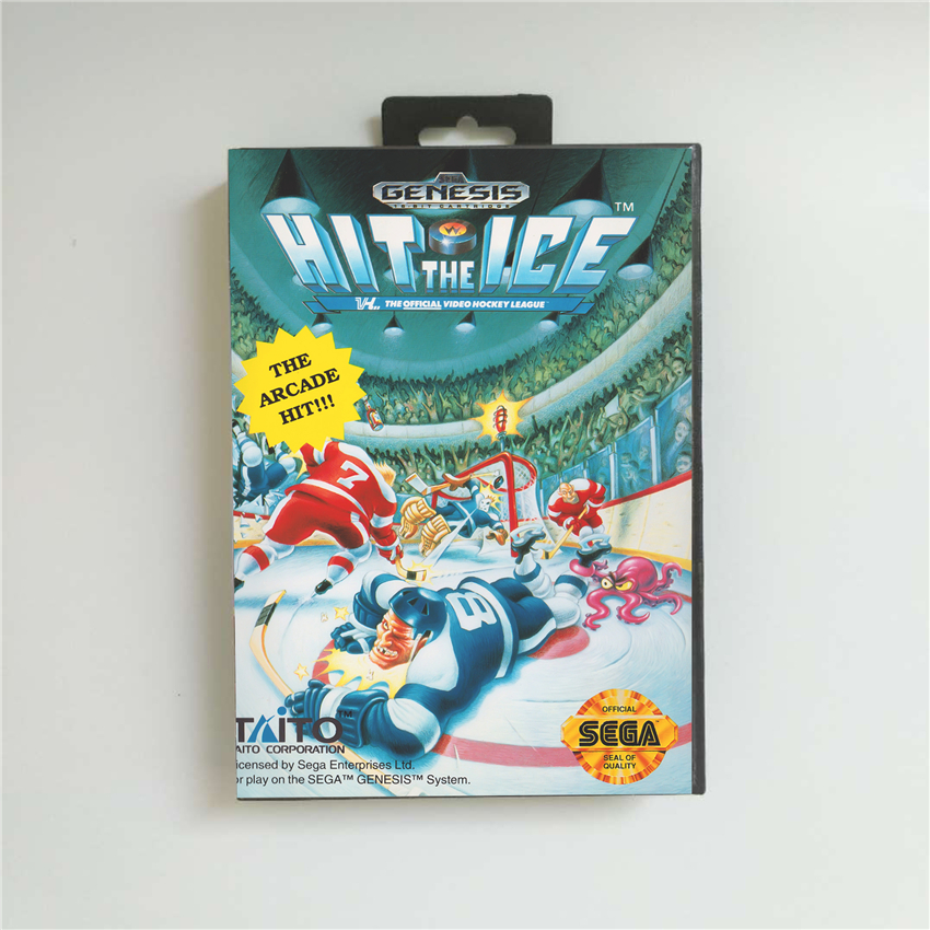 Hit the Ice - USA Cover With Retail Box 16 Bit MD Game Card for Sega Megadrive Genesis Video Game Console