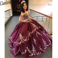 Luxurious Burgundy Lace Beaded Quinceanera Prom Dresses Ball Gown Party Gowns Sweetheart Tulle Evening Sweet 16 Dress
