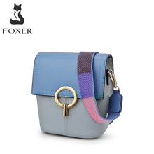 FOXER Cowhide Leather Crossbody Bags Lady Panelled Messenger Bags Women Colorful Shoulder Bags Female Mini Soft Skin Bucket Bag