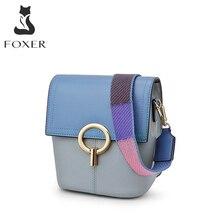 FOXER sığır derisi deri Crossbody çanta bayan panelli postacı çantası kadın renkli omuz çantaları kadın Mini yumuşak deri kova çanta