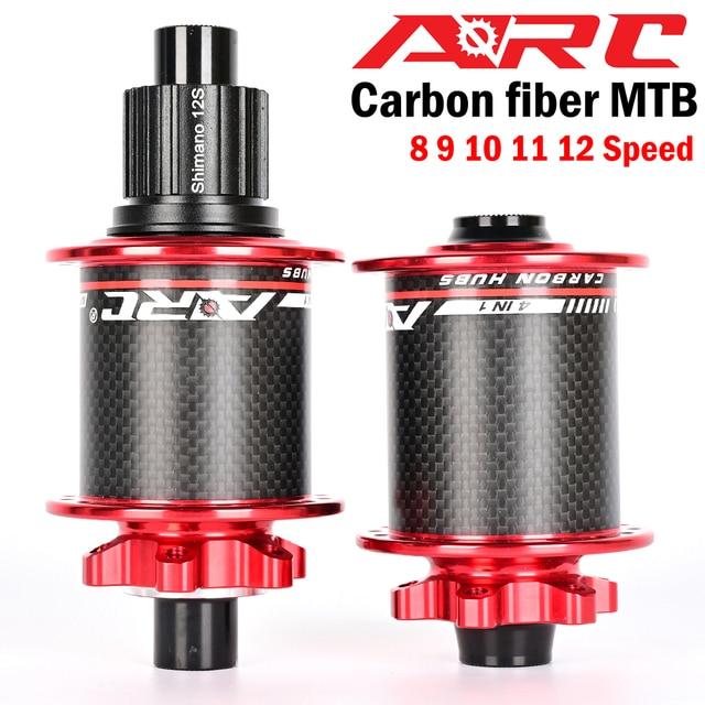 新しいカーボン繊維mtbハブマウンテンバイクハブ4ベアリング6爪114クリック8 9 10 11 12速度自転車ハブ135*10ミリメートル142*12ミリメートル32穴