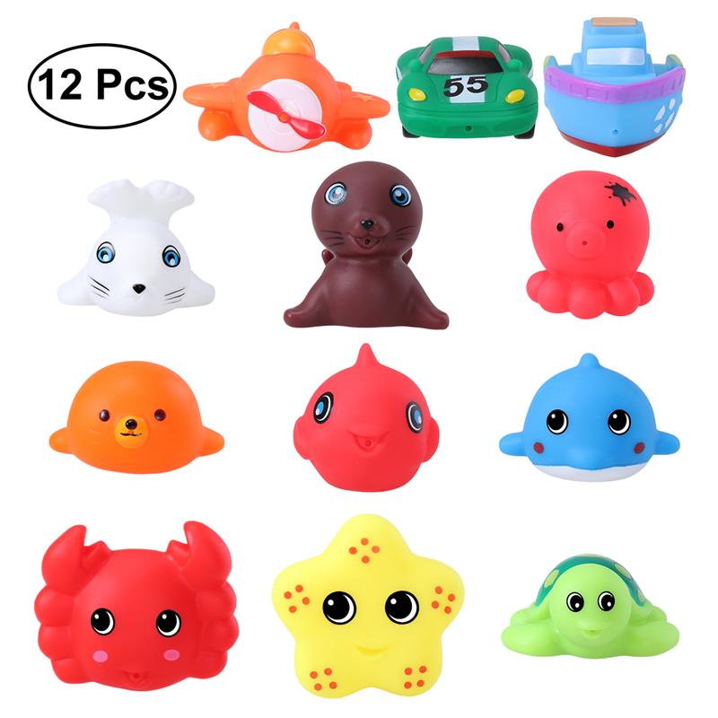 TOYMYTOY 12 Pcs Bath Toys Sea Animals Vehicles Water Spraying Squeaker Fun Bathtub Toys For Babies Toddlers Kids