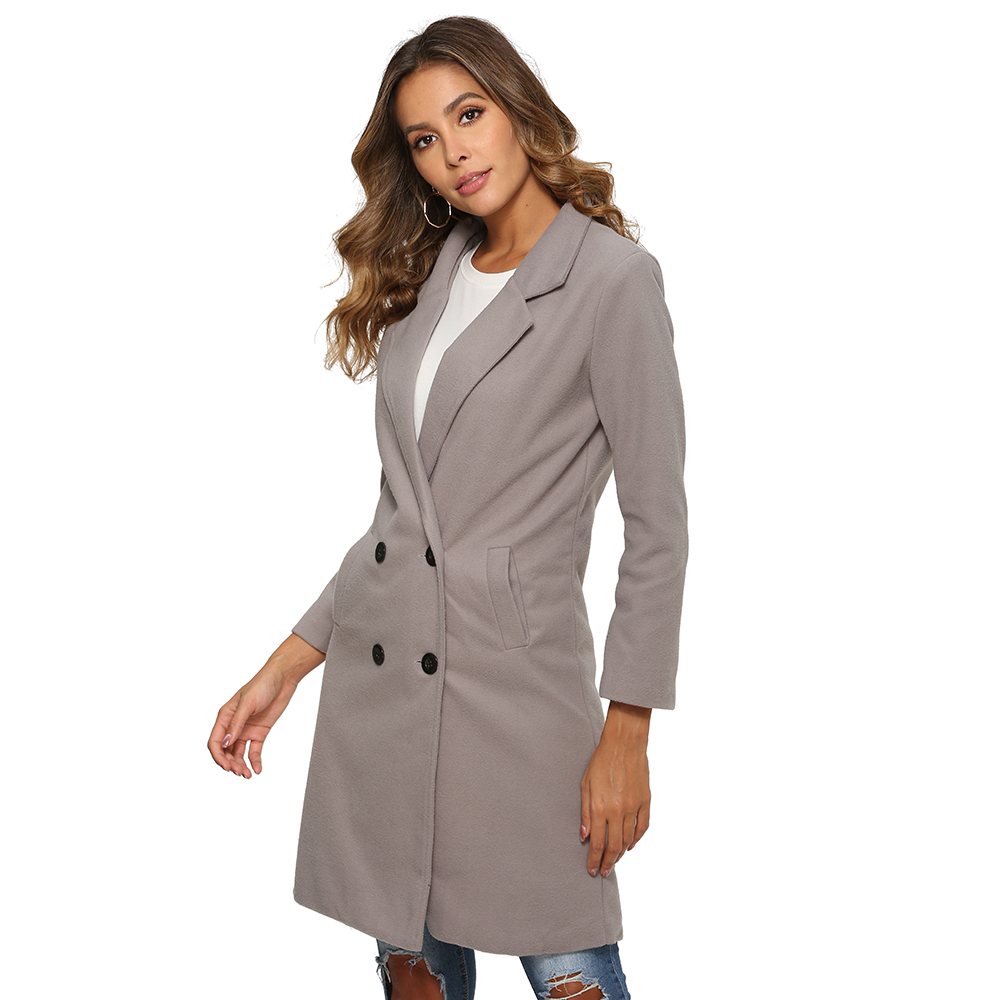 H78c60ccc0f4541dba3ce24bd1d386e7e9 2018 New Women Long Sleeve Turn-Down Collar Outwear Jacket Wool Blend Coat Casual Autumn Winter Elegant Overcoat Loose Plus Size