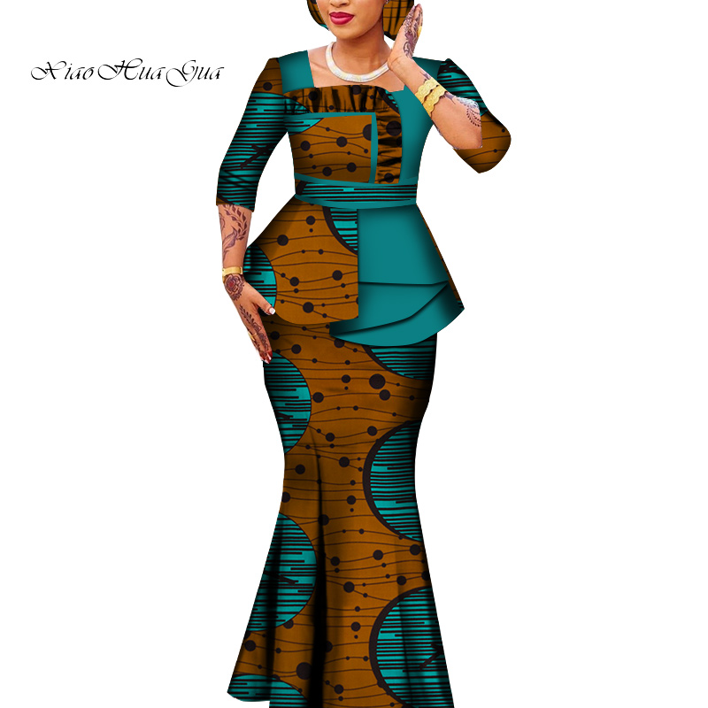 2020 African Suits For Women African Wax Print Tops And Skirts African Skirts Set Ankara African Clothes Plus Size WY6592