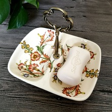 French Soap Dishes Ceramic Double Lattice Crackle Scented Soap Tray Perfumed Soaps Holder Bathroom Set Supplier Toilet  Supplies