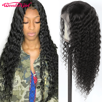 Wonder girl 13X4 Glueless Lace Front Human Hair Wigs For Black Women Pre Plucked Deep Wave Wig Remy Brazilian Wig No Shedding