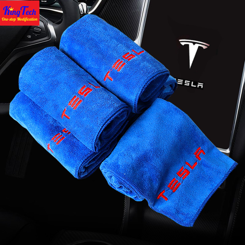Car Cleaning Microfiber Towel For Tesla Model 3 X S Soft Cloth Washing Quick Dry Home Cleaning Microfiber Towels Auto Accessorie