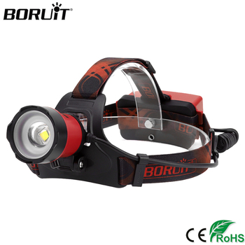 цена на BORUIT B13 XM-L2 LED Zoomable Headlamp USB Rechargeable Power Bank Headlight Head Torch Camping Hunting Flashlight 18650 Battery