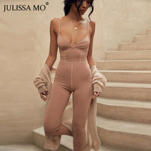 JULISSA MO Cotton V Neck Sexy Jumpsuit Women Tops Camis Straps Backless Bodycon Jumpsuits 2019 New Autumn Long Rompers Overalls(China)