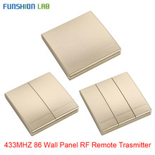 FUNSHION 433 Mhz Wireless RF Wall Panel Transmitter RF AC 110V 220V 1 CH Remote Control Switch Receiver For Hall Bedroom Lights
