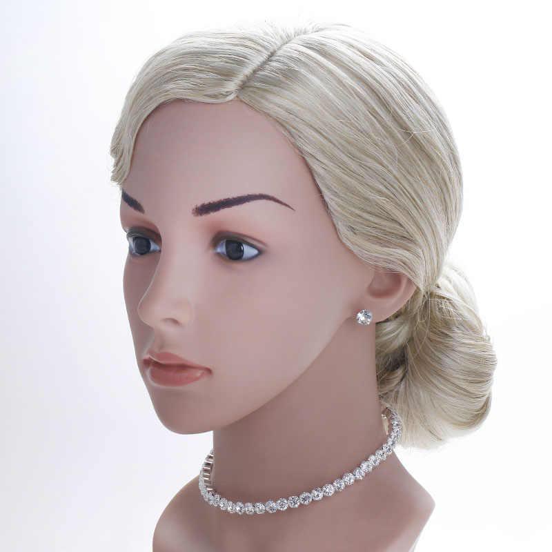 TREAZY ブライダルファッションクリスタルラインストーンチョーカーネックレス女性ウェディングアクセサリーシルバーチェーンチョーカージュエリーコリアーファム