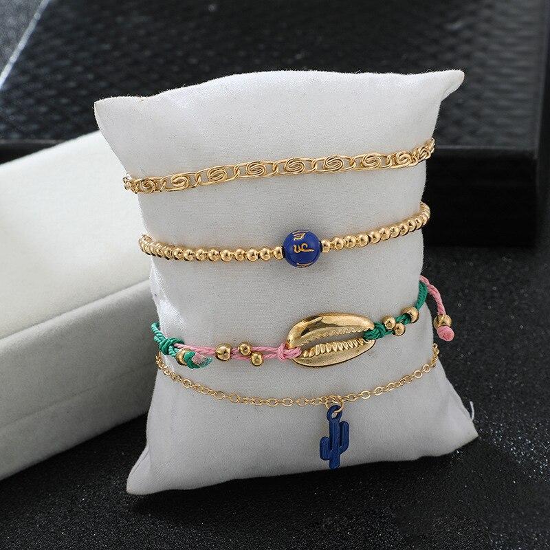 Bohemian Ankle Bracelets Set Multilayer Shell Cactus Proverbs Charm Adjustable Bracelets Women Anklet Foot Jewelry Gift 4Pcs
