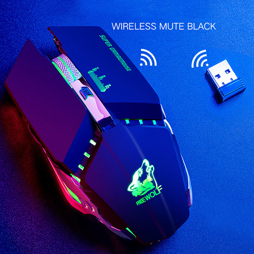 2.4G 1600DPI  Wireless Optical Mouse Ergonomic Mechanical USB Charger Mental Wheel Professional Gaming Mouse Use For Laptop PC
