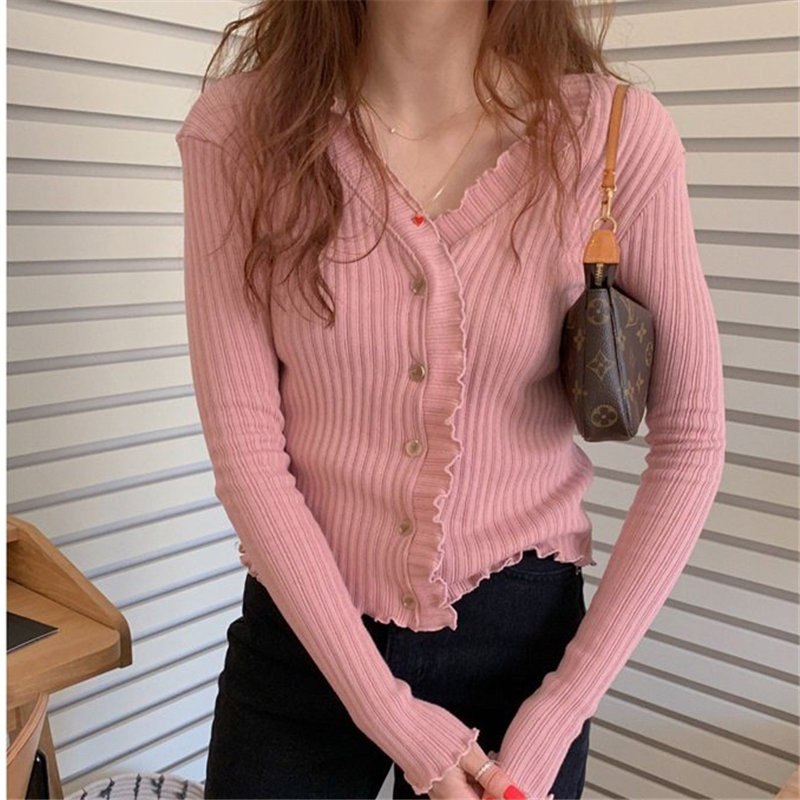 Alien Kitty Cute V-Neck High Waist All Match Coats Chic Gentle 2020 Sweet Solid Slim Hot Office Lady Cardigans Short Sweaters