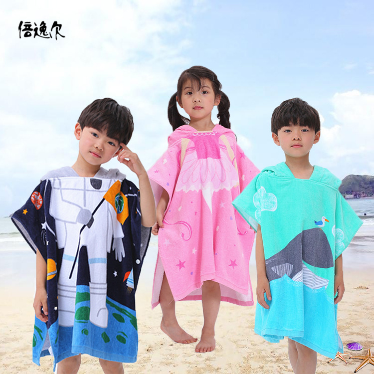 CHILDREN'S Bathrobes Class A Non-Formaldehyde Cartoon Activity Printed Not Shed Lengthen Pure Cotton Hooded Bath Towel Cloak 70