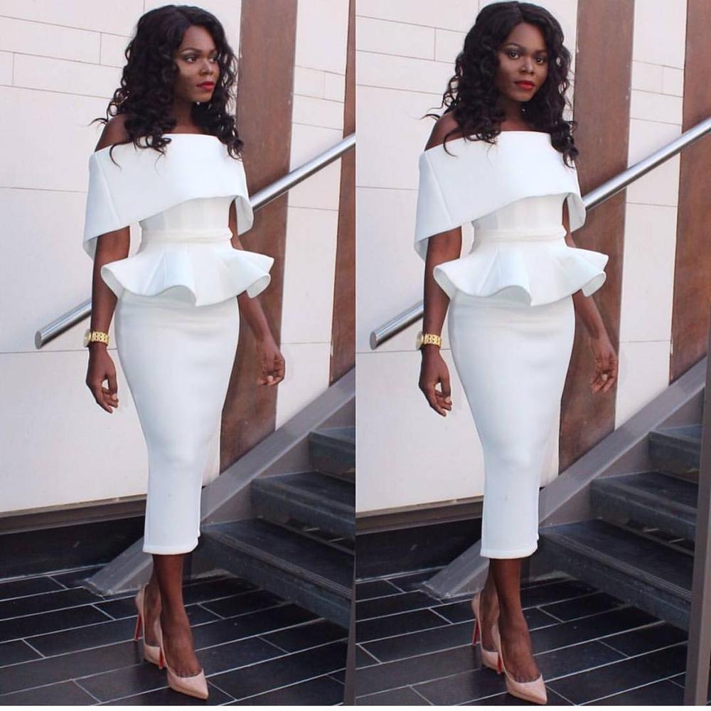 Sexy Off Shoulder Ruffle Midi Dress 2020 New Women Sexy Slim Pencil Bodycon Party Dress White Black Dresses Vestidos Plus Size