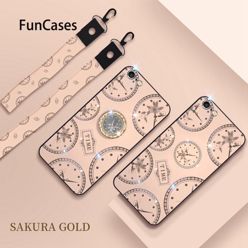 Sakura Gold Cell Phone Shell Case For <font><b>iPhone</b></font> 6S Plus <font><b>Hoesje</b></font> Protection sFor Apple <font><b>iPhone</b></font> cellular 6 Plus 7 <font><b>8</b></font> Soft Silicone Shell image