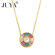 JUYA Gold necklace CZ micro pave zircon charm fashion 26 Alphabet letter pendant women