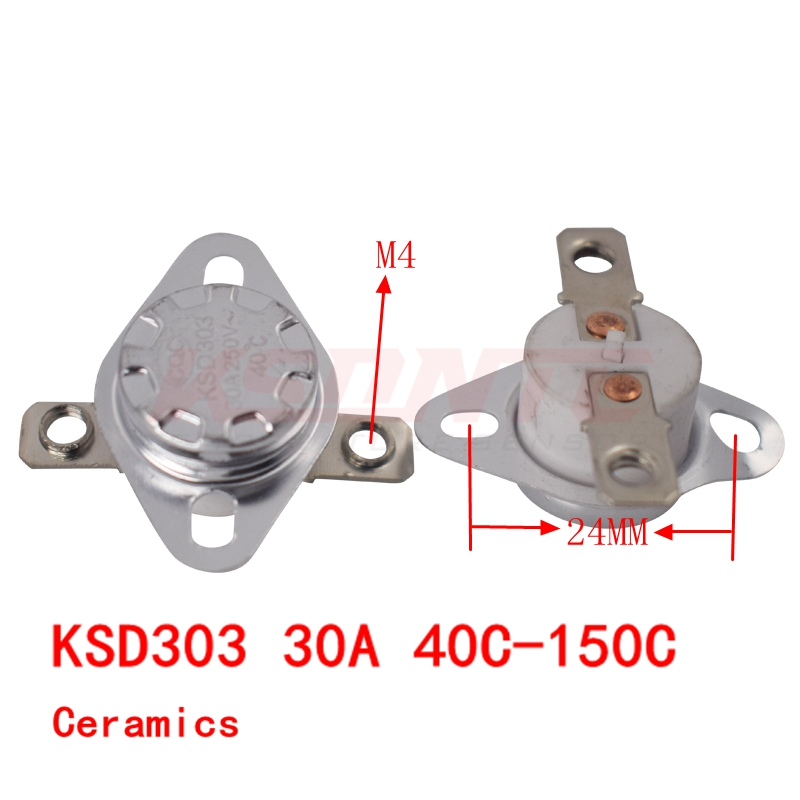20PCS KSD303 30A250V 40-150 degree Ceramic KSD301 Normally Closed Temperature Switch Thermostat 40 <font><b>50</b></font> 60 70 <font><b>80</b></font> 90 100 110 120 image