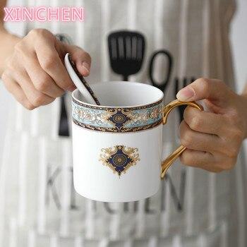 XINCHEN Retro Bohemian Blauw Schets In Goud Bone China Mok Met Lepel Creatieve Keramische Koffie Kantoor Beker Melk Cup Gift Cup