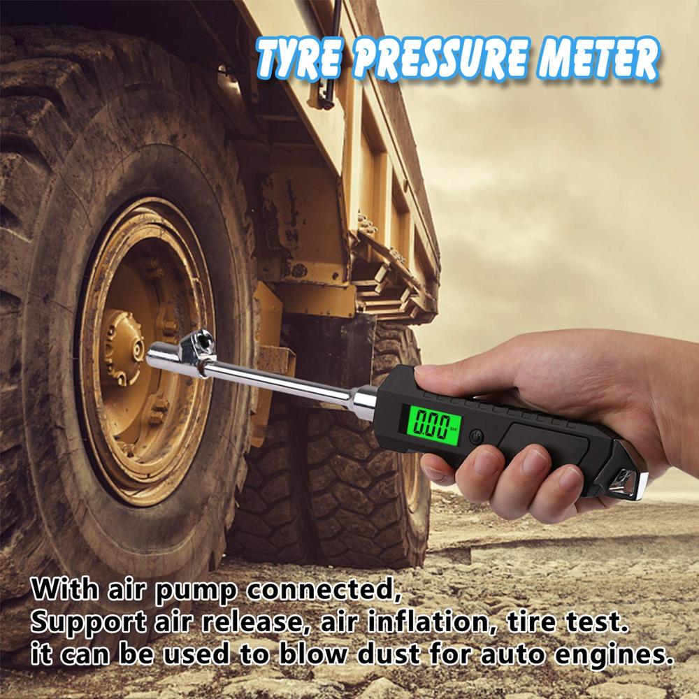 Professional Digital Tire Pressure Gauge Dual Head 200PSI Heavy Duty Tire Gauge For Truck Car Bicycels With Backlight LCD