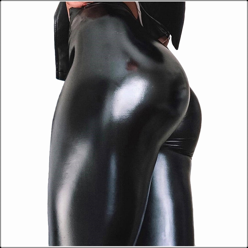 Plus Big Size PU Patent Leather Seamless Leggings Women Wool Lining Faux Leather Pencil Pants High Waist Slim Stretch Trousers